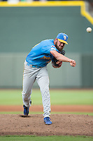 Myrtle Beach Pelicans starting pitcher Trevor Clifton (29) follows through on his delivery against the Winston-Salem Dash at BB&T Ballpark on July 7, 2016 in Winston-Salem, North Carolina.  The Dash defeated the Pelicans 13-9.  (Brian Westerholt/Four Seam Images)