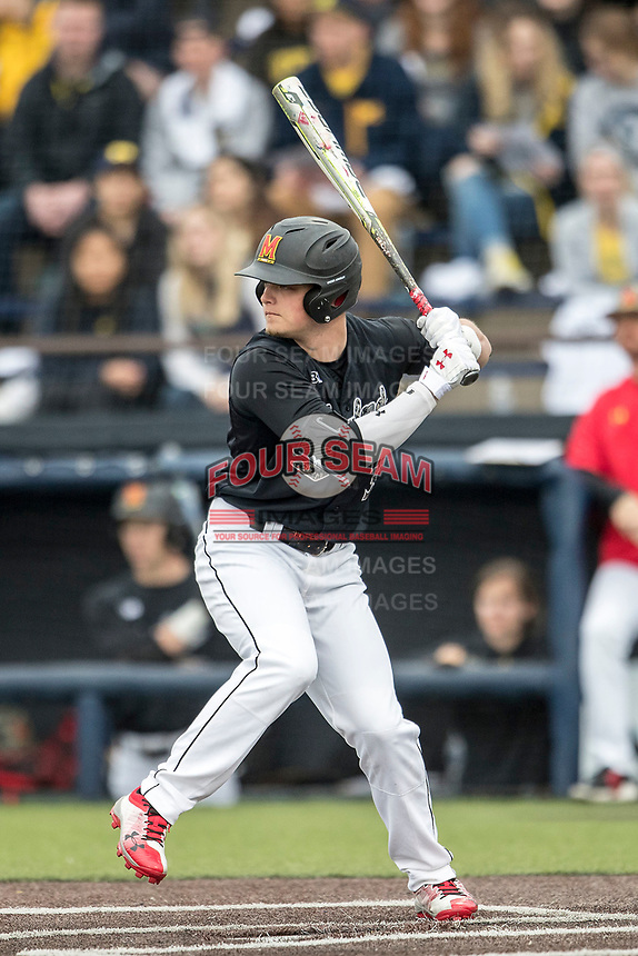 Maryland Terrapins second baseman Nick Dunn (39) at bat against the Michigan Wolverines on April 13, 2018 in a Big Ten NCAA baseball game at Ray Fisher Stadium in Ann Arbor, Michigan. Michigan defeated Maryland 10-4. (Andrew Woolley/Four Seam Images)