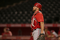 Los Angeles Angels catcher Wade Wass (9) during a Minor League Spring Training game against the Milwaukee Brewers at Tempe Diablo Stadium on March 29, 2018 in Tempe, Arizona. (Zachary Lucy/Four Seam Images)