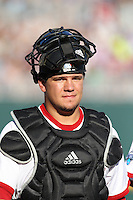 Indiana Hoosiers catcher Kyle Schwarber #10 during Game 6 of the 2013 Men's College World Series between the Indiana Hoosiers and Mississippi State Bulldogs at TD Ameritrade Park on June 17, 2013 in Omaha, Nebraska. (Brace Hemmelgarn/Four Seam Images)