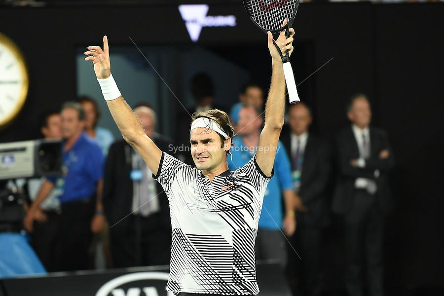 January 29, 2017: Roger Federer of Switzerland celebrates after winning the Men's Final against Rafael Nadal of Spain on day 14 of the 2017 Australian Open Grand Slam tennis tournament in Melbourne, Australia. Photo Sydney Low