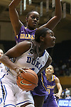 19 December 2013: Duke's Elizabeth Williams (1) and Albany's Tammy Phillip (BVI) (behind). The Duke University Blue Devils played the University at Albany, The State University of New York Great Danes at Cameron Indoor Stadium in Durham, North Carolina in a 2013-14 NCAA Division I Women's Basketball game. Duke won the game 80-51.