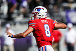 Southern Methodist Mustangs quarterback Ben Hicks (8) in action during the game between the SMU Mustangs and the TCU Horned Frogs at the Amon G. Carter Stadium in Fort Worth, Texas.