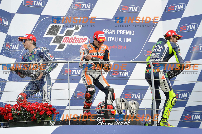 Jorge Lorenzo Yamaha, Marc Marquez Honda, Valentino Rossi Yamaha MotoGp <br /> Scarperia (Italia) 01/06/2014 - Motomondiale Gp Mugello foto Luca Gambuti/Image Sport/Insidefoto