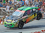 Stephan Verdier (12) driver of the Motorcity Disney XD car, in action during the Global Rally Cross race, the Hoon Kaboom, at Texas Motor Speedway in Fort Worth,Texas. Global Rally Cross driver Marcos Gronholm (3) wins the Hoon Kaboom race..