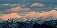 December alpenglow over the northern Wasatch Range, Utah.