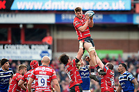Freddie Clarke of Gloucester Rugby wins the ball at a lineout. Gallagher Premiership match, between Gloucester Rugby and Bath Rugby on April 13, 2019 at Kingsholm Stadium in Gloucester, England. Photo by: Patrick Khachfe / Onside Images