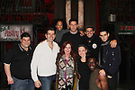 "Some of the cast poses with Joe Barbara - Jacklyn Zeman - Another World and AMC Joe Barbara stars in The Bronx Tale, The Musical  at the Longacre Theatre, New York City, New York. On January 19, 2017 General Hospital's Jacklyn Zeman ""Bobbie Spencer"" came to see the musical and went backstage to see Joe Barbara and cast. Photos were taken on the stage. (Photo by Sue Coflin/Max Photos)"