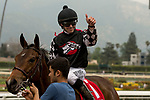 ARCADIA, CA  APRIL 7: Joseph Talamo gives a thumbs up  after guiding #1 Spiced Perfection to win the Evening Jewel Stakes on April 7, 2018 at Santa Anita Park Arcadia, CA. (Photo by Casey Phillips/ Eclipse Sportswire/ Getty Images)