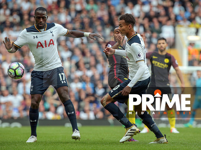 L-R Tottenham Hotspur's Moussa Sissoko and Tottenham Hotspur's Dele Alli<br /> during the Premier League match between Tottenham Hotspur and Manchester City at White Hart Lane, London, England on 2 October 2016. Photo by Kieran  Galvin / PRiME Media Images.