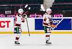 Stockholm 2014-10-14 Ishockey Hockeyallsvenskan AIK - Malm&ouml; Redhawks :  <br /> Malm&ouml; Redhawks Johan Ivarsson , Jens Olsson och Frederik Storm deppar efter matchen och f&ouml;rlusten mot AIK:s <br /> (Foto: Kenta J&ouml;nsson) Nyckelord:  AIK Gnaget Hockeyallsvenskan Allsvenskan Hovet Johanneshov Isstadion Malm&ouml; Redhawks depp besviken besvikelse sorg ledsen deppig nedst&auml;md uppgiven sad disappointment disappointed dejected