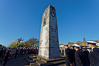 Pictured: Members of the armed forces and members of the public at the Cenotaph in Swansea, Wales, UK. Sunday 10 November 2019<br /> Re: Remembrance SUnday, a service to commemorate those who lost their lives in conflict has been held at the Cenotaph in Swansea, Wales, UK.