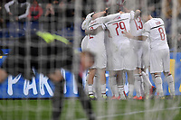 Krzysztof Piatek of AC Milan celebrates with team mates after scoring the goal of 0-1 during the Serie A 2018/2019 football match between AS Roma and AC Milan at stadio Olimpico, Roma, February 3, 2019 <br />  Foto Andrea Staccioli / Insidefoto