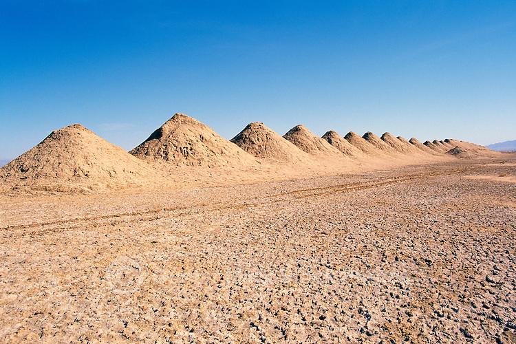 Old Salt Mine Tailings on Bristol Dry Lake in the Mojave Desert, near Amboy, California, USA