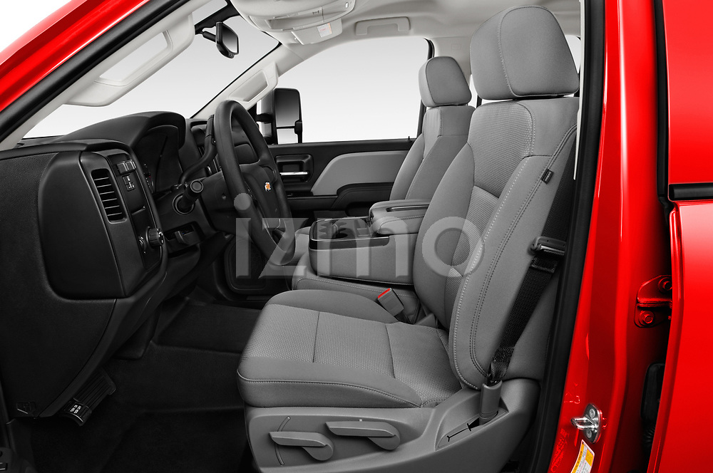 Front seat view of a 2018 Chevrolet Silverado 2500HD Work Truck Long Box Double Cab 4 Door Pick Up front seat car photos