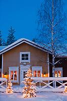 Europe/Finlande/Laponie/Levi: restaurant Hullu Poro Kammi détail des décorations de Noël