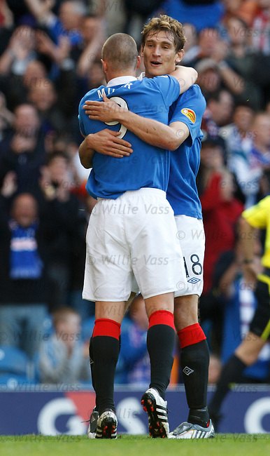 Kenny Miller celebrates with goal provider Nikica Jelavic