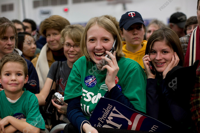 """Senator Hillary Clinton (D-NY), potential Democratic presidential candidate, hosts a rally at Augsburg College, in a push to gain """"Super Tuesday"""" votes. Minneapolis, Minnesota, February 3, 2008."""