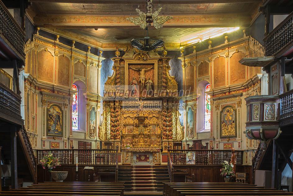 France, Pyrénées-Atlantiques (64), Pays-Basque, Itxassou:  l'église Saint-Fructueux // France, Pyrenees Atlantiques, Basque Country,  Itxassou: Saint-Fructueux  church