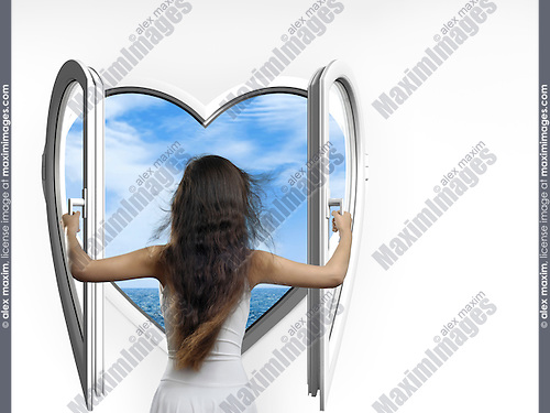 Woman opening a heart-shaped window with a view on the sea.