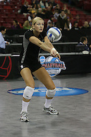 15 December 2007: Stanford Cardinal Alex Fisher during Stanford's 25-30, 26-30, 30-23, 30-19, 8-15 loss against the Penn State Nittany Lions in the 2007 NCAA Division I Women's Volleyball Final Four championship match at ARCO Arena in Sacramento, CA.