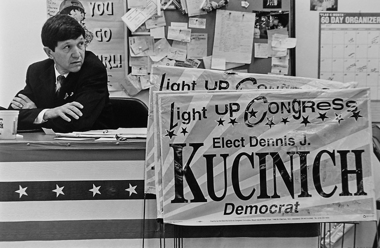 Rep. Dennis Kucinich, D-Ohio, in his office. 1996 (Photo by Rebecca Roth/CQ Roll Call via Getty Images)