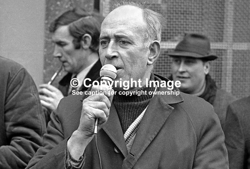 Arthur Kearney, chairman, Omagh Civil Rights Association, Co Tyrone, N Ireland, UK, 197204000317.<br /> <br /> Copyright Image from Victor Patterson, 54 Dorchester Park, Belfast, UK, BT9 6RJ<br /> <br /> t1: +44 28 9066 1296 (from Rep of Ireland 048 9066 1296)<br /> t2: +44 28 9002 2446 (from Rep of Ireland 048 9002 2446)<br /> m: +44 7802 353836<br /> <br /> e1: victorpatterson@me.com<br /> e2: victorpatterson@gmail.com<br /> <br /> The use of any of my copyright images is subject to my Terms &amp; Conditions.<br /> <br /> It is IMPORTANT that you familiarise yourself with them. They are available on my website, victorpatterson.com.<br /> <br /> None of my copyright images may be used on the Internet unless they are visibly watermarked, i.e. &copy; Victor Patterson in the body of the image. Additionally metadata denoting my copyright must NOT be deleted. <br /> <br /> Web use is extra at the current recommended NUJ rates.