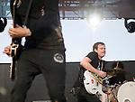 Angels and Airwaves guitarist David Kennedy and lead singer Tom DeLonge perform during the KROQ Weenie Roast y Fiesta Saturday.