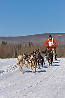 Israel Silas races in the 2008 Open North American Championship sled dog race, third heat, March 16, 2008.