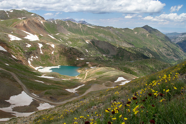 Lake Como at 12,215 ft (3723 m) in northern San Juan County, in the Uncompahgre National Forest in the northwestern San Juan Mountains, Colorado.