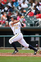 Montgomery Biscuits catcher Luke Maile (21) at bat during a game against the Mississippi Braves on April 22, 2014 at Riverwalk Stadium in Montgomery, Alabama.  Mississippi defeated Montgomery 6-2.  (Mike Janes/Four Seam Images)