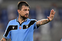 Francesco Acerbi of SS Lazio reacts during the Serie A football match between SS Lazio and Cagliari Calcio at Olimpico stadium in Rome ( Italy ), July 23th, 2020. Play resumes behind closed doors following the outbreak of the coronavirus disease. Photo Andrea Staccioli / Insidefoto