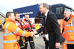 Minister Simon Coveney meeting with members of the Naval Service, Garda Under Water Unit, Drogheda Coast Guard, Skerries Coast Guard and Howth Coast Guard and Members of the RNLI who are taking part in the search for the two missing men since last friday night..Picture: Fran Caffrey / www.newsfile.ie.