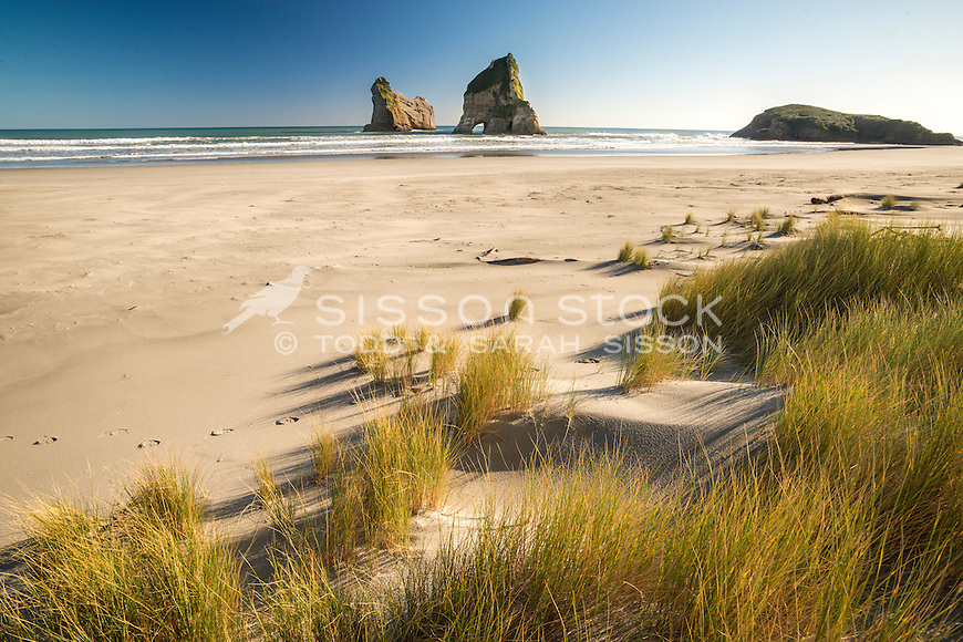 Archway Islands, Wharariki Beach, Golden Bay, New Zealand - stock photo, canvas, fine art print