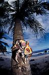 Robber or coconut crab climbs palmtree.Birgus latro