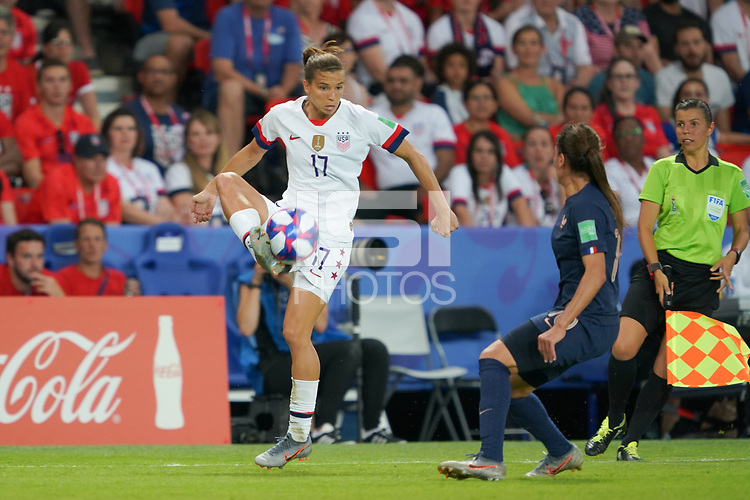 PARIS, FRANCE - JUNE 28: Tobin Heath #17 during a 2019 FIFA Women's World Cup France quarter-final match between France and the United States at Parc des Princes on June 28, 2019 in Paris, France.