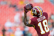 Landover, MD - August 16, 2018: Washington Redskins wide receiver Josh Doctson (18) catches a pass during warm up before preseason game between the New York Jets and Washington Redskins at FedEx Field in Landover, MD. (Photo by Phillip Peters/Media Images International)