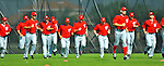 24 February 2012: Washington Nationals' pitchers warm up at the Carl Barger Baseball Complex in Viera, Florida. Mandatory Credit: Ed Wolfstein Photo