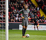 Angus Gunn of Norwich City smiles at the Sheffield Utd fans after slowing down the play during the Championship match at Bramall Lane Stadium, Sheffield. Picture date 16th September 2017. Picture credit should read: Simon Bellis/Sportimage