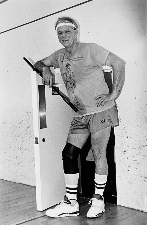 Sen. Bob Packwood, R-Ore., during a break from his Squash game at the Capitol Hill Squash Club. September 9, 1990 (Photo by Maureen Keating/CQ Roll Call)