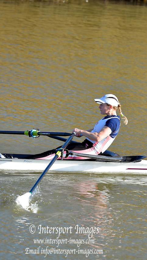 Boston, Great Britain. Women's Single Scull GBR W1X . Katie GREVES,  compete's in the 2013 GBRowing second assessment, Boston Rowing Club, River Witham, Lincolnshire.    Saturday  09/02/2013   [Mandatory Credit. Peter Spurrier/Intersport Images]