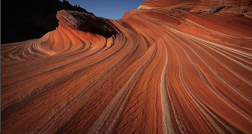 Lines and swirls form in the sandstone landscape at The Second Wave at Coyot Buttes North.