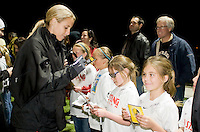 Leslie Osborne signs autographs for Mustang Soccer Youth after the game. FC Gold Pride defeated University of California 6-1 in their first official exhibition match at the Mustang Soccer Complex in Danville, California on March 11th, 2009.