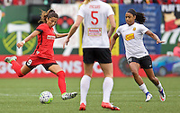 Portland, Oregon - Sunday October 2, 2016: Portland Thorns FC forward Nadia Nadim (9) during a semi final match of the National Women's Soccer League (NWSL) at Providence Park.