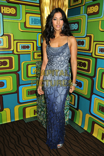 JANINA GAVANKAR.HBO 2011 Post Golden Globe Awards Party held at The Beverly Hilton Hotel, Beverly Hills, California, USA..January 16th, 2011.full length dress blue grey gray beads beaded  .CAP/ADM/BP.©Byron Purvis/AdMedia/Capital Pictures.