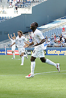 Freddy Adu celebrates his goal. USA defeated Grenada 4-0 during the First Round of the 2009 CONCACAF Gold Cup at Qwest Field in Seattle, Washington on July 4, 2009.