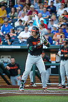 Garrett Kennedy (40) of the Miami Hurricanes bats during a game between the Miami Hurricanes and Florida Gators at TD Ameritrade Park on June 13, 2015 in Omaha, Nebraska. (Brace Hemmelgarn/Four Seam Images)