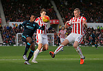 Kelechi Iheanacho competes withPhillipp Wolfscheid and Ryan Shawcross of Stoke - Football - Barclays Premier League - Stoke City vs Manchester City - Britannia Stadium Stoke - December 5th 2015 - Season 2015/2016 - Photo Malcolm Couzens/Sportimage