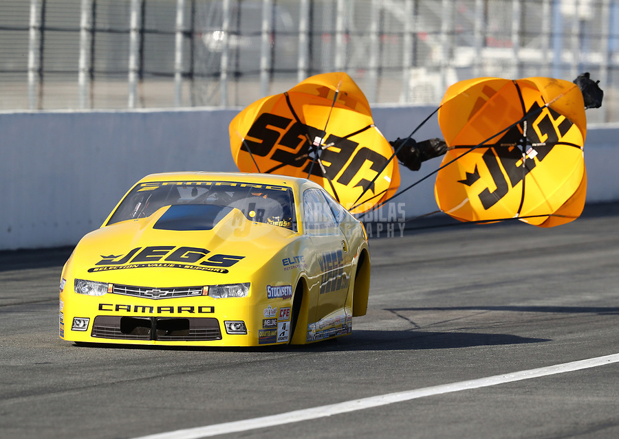 Feb 9, 2019; Pomona, CA, USA; NHRA pro stock driver Jeg Coughlin Jr during qualifying for the Winternationals at Auto Club Raceway at Pomona. Mandatory Credit: Mark J. Rebilas-USA TODAY Sports