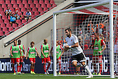 02.08.2015. Cologne, Germany. Pre Season Tournament. Colonia Cup. FC Cologne versus Valencia CF. Alvaro Negredo nets Valencias second goal, though Valencia still trail 3-2.